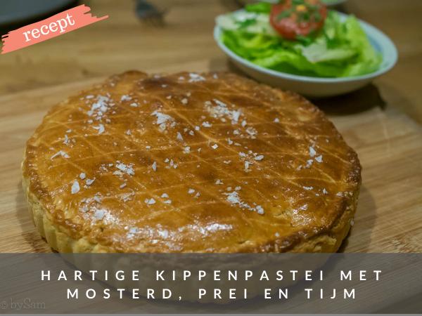 Recept hartige taart kip tijm mosterd prei
